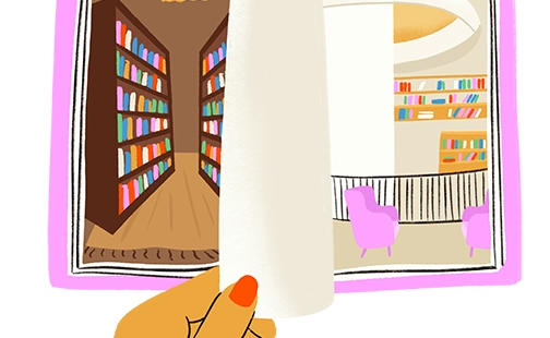 Graphic illustration of an open book depicting a historic version of the library on the left and a modern version on the right for the fall 2021 SAQ