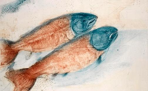 An etching of two fish by artist Munio Makuuchi