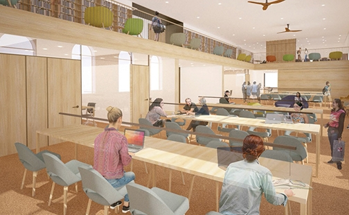 Artist's rendering of the learning commons in the new library