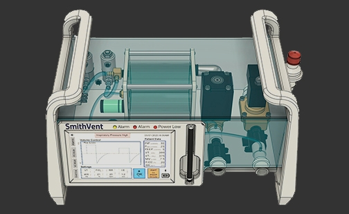 Graphic image of the Smith-designed COVID-19 ventilator