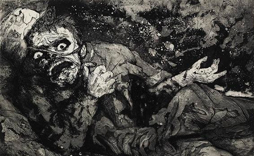 Verwundeter, Herbst 1916, Bapaume, by Otto Dix