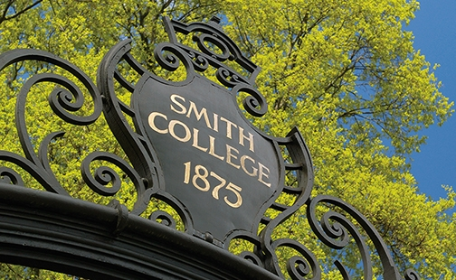 Detail of the top of the Grecourt Gates saying Smith College 1875