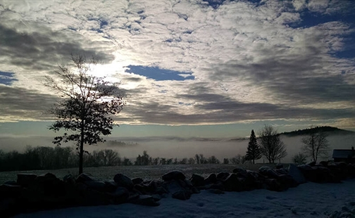 MacLeish Field shrouded in fog