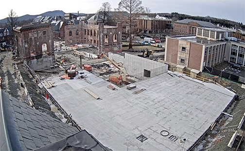 Aerial view of the Neilson Library construction site
