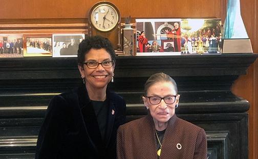 Phoebe Haddon '72 and Ruth Bader Ginsburg