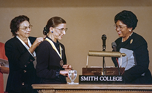Ruth Bader Ginsburg receiving the Sophia Smith Award in 1997