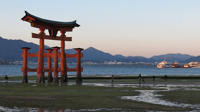 Scenic shot of Japanese torii gate