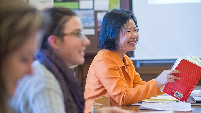 Faculty member lecturing in a Chinese language course