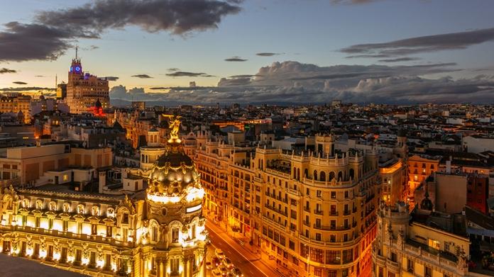 Buildings in Madrid, Spain at night
