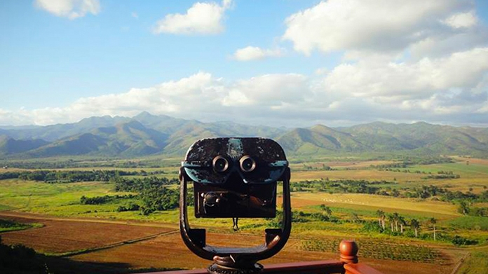 Photo of binoculars looking out at a landscape
