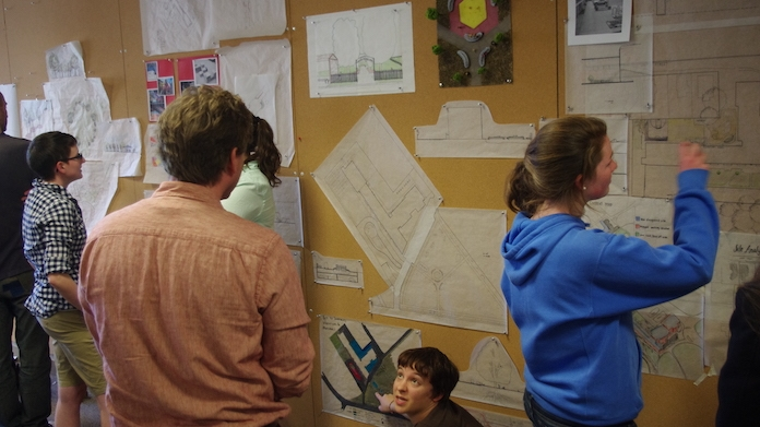 Students engaged in sustainability coursework