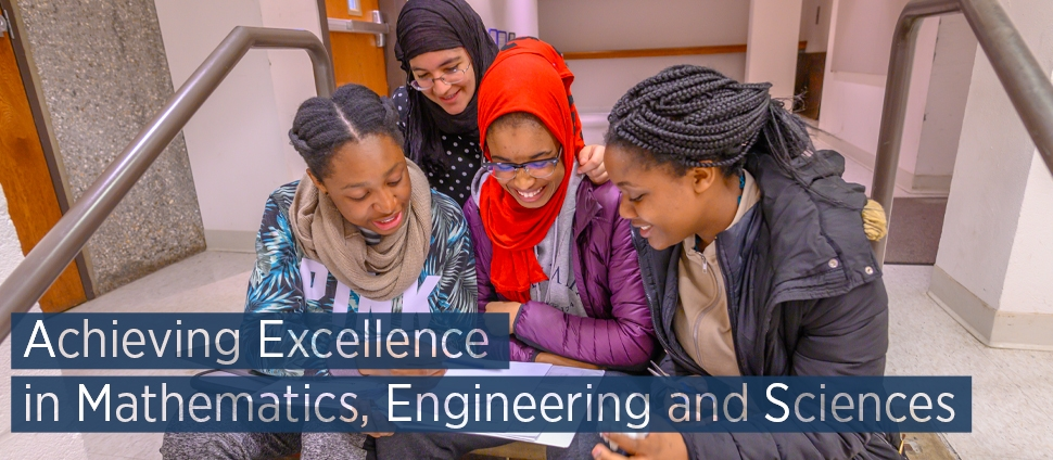 Students looking at a notebook together. Text reads: Achieving Excellence in Mathematics, Engineering and Sciences