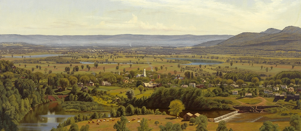 Painting by Thomas Charles Farrer. View of Northampton from the Dome of the Hospital, 1865 (detail). Oil on canvas.
