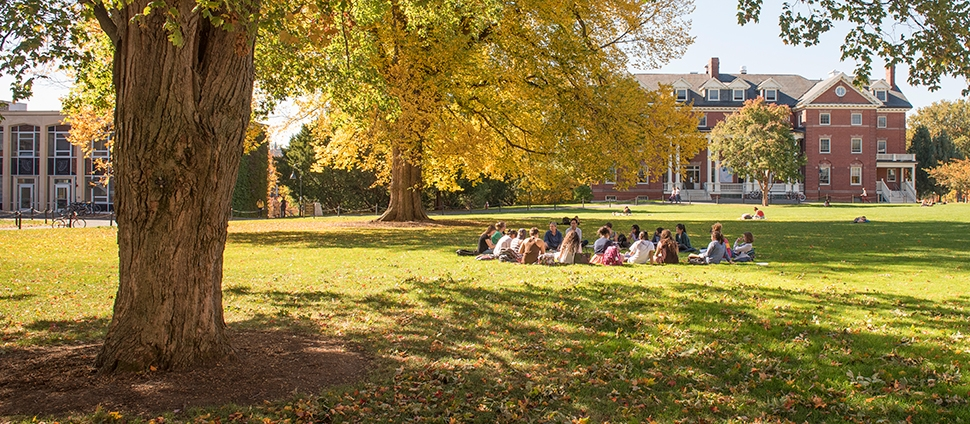 Group of students in a circle on Chapin Lawn
