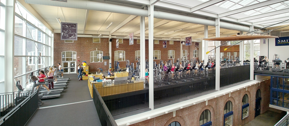 Smith College patrons exercise inside Olin Gym