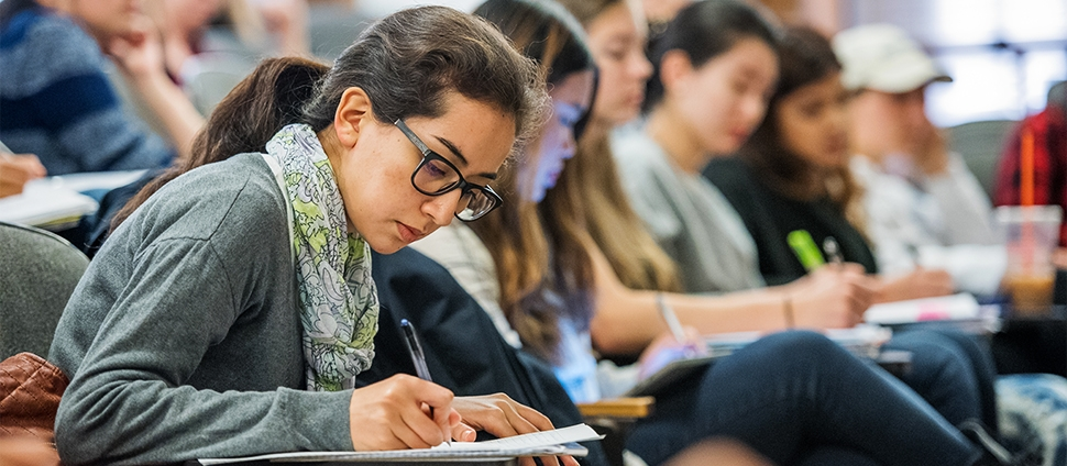 Students taking notes in economics class