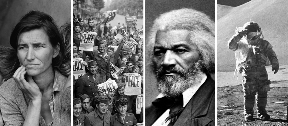 Collage of images: The Great Depression, WWII, Frederick Douglass, the moon landing