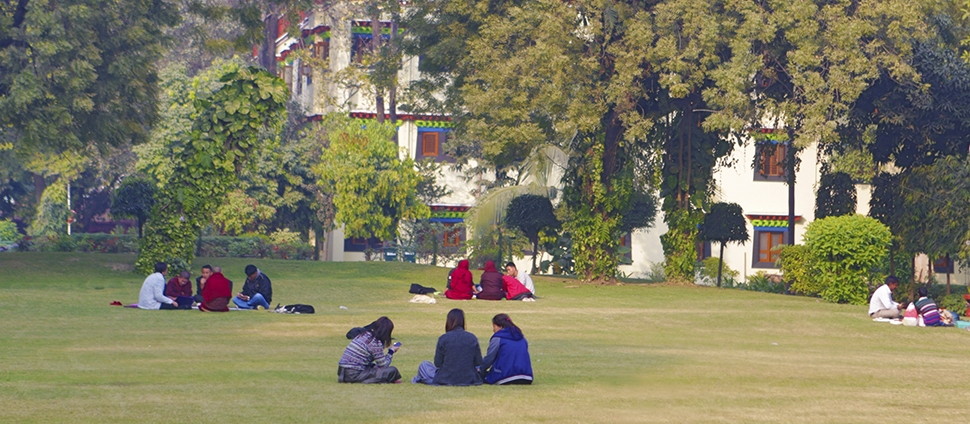 Students on a lawn in India