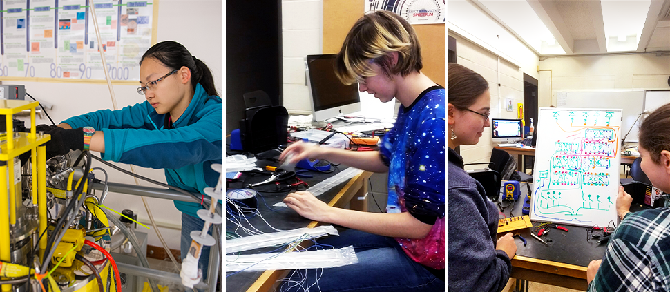 Collage of students working in physics labs