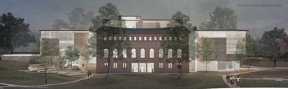 Rendering of Neilson Library from Burton Lawn