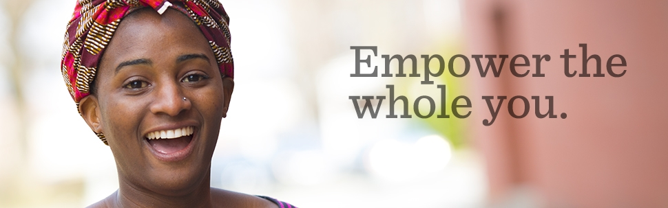 Close-up of a student face with the slogan Empower the Whole You