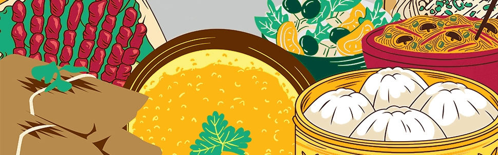 Graphic illustration of food from around the world