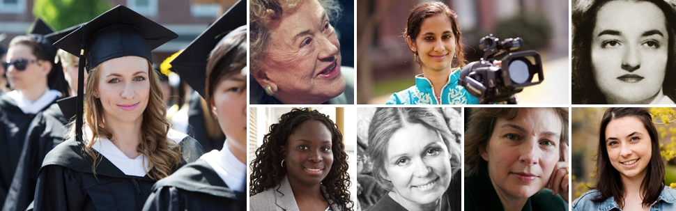 Collage of images featuring notable alumnae like Gloria Steinem and Julia Child with current students
