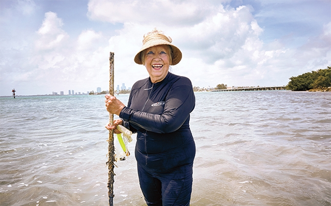 Anitra Thorhaug plants seagrasses in Biscayne Bay