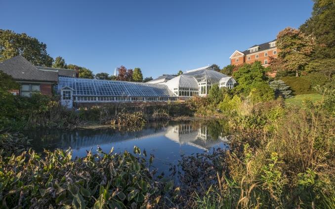 Exterior of Botanic Garden Greenhouse and Pond