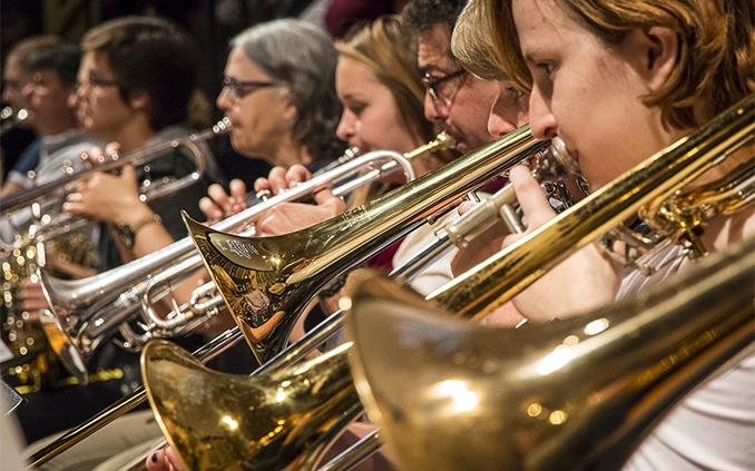 Brass players ensemble performance