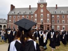 Graduates in front of the Quad
