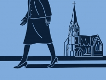 Black outline of a person in a skirt and kitten heels walking past a church against a blue background