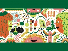 Illustration of an orange person with green curly hair and two pink people with lots of sketchy idea icons