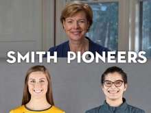 Tammy Baldwin and two student athletes