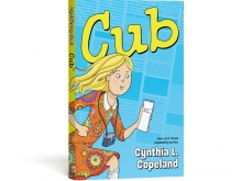 cover of Cub graphic novel. Blonde kid in a orange paisley dress running with a camera and notebook