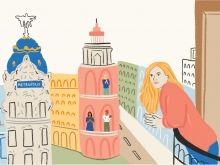Illustration of a blonde person with long hair leaning out a balcony, looking over Madrid while other people clap in their windows
