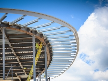 curved steel roof line