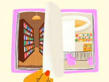 Illustration of a hand with red nail polish turning a page between a library shelf with books and the new Neilson oculus