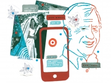 Blue and red Illustration, including overlapping outline of a man's head, a grainy wedding photo, and a smart phone