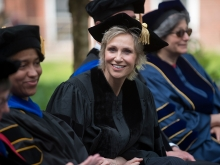 Jane Lynch in the crowd at Commencement