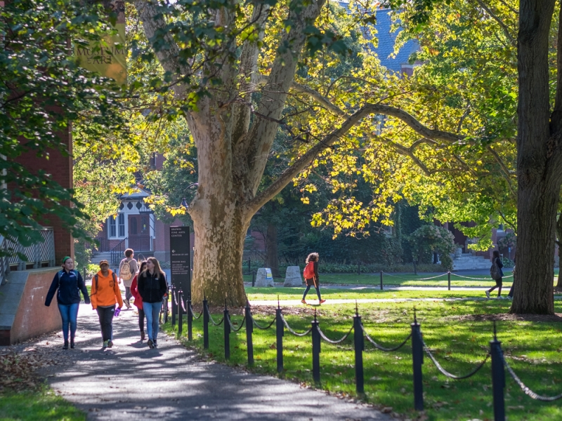 students walking outdoors in fall