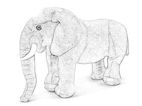 Drawing of a stuffed elephant