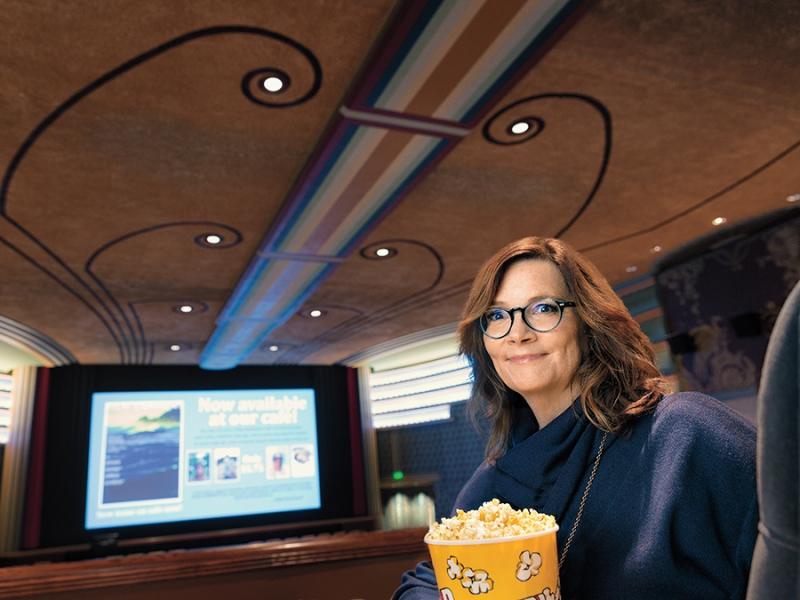 Ann Hornaday in a movie theater