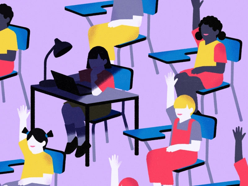 Illustration of students at desks with their hands raised, except one who is hunched over their desk in darkness