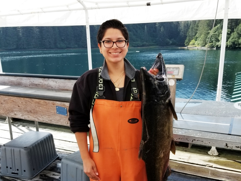 Esmeralda Mendoza and fish
