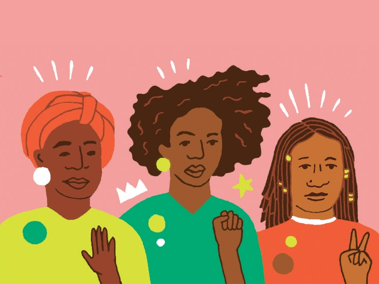 Illustration of three black people with different hair, each with an arm raised--one in a fist, one with a flat hand and one with the first two fingers raised in a v.