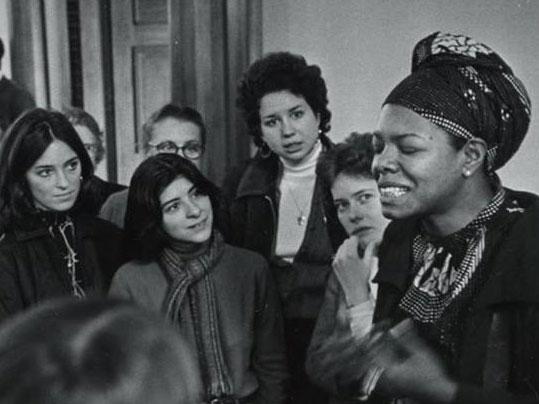 Maya Angelou and students