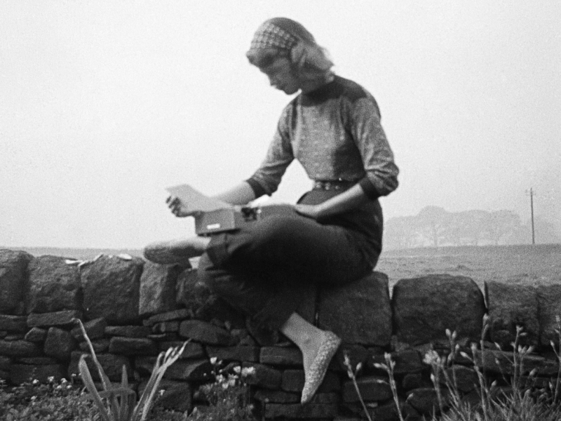 Sylvia Plath sitting on a stone wall with a typewriter on the Yorkshire moors, September 1956.
