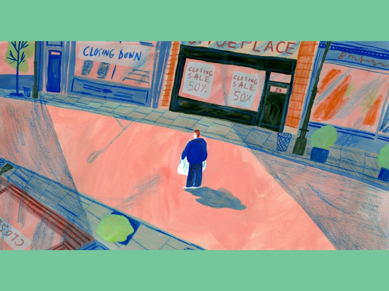 Illustration of a person walking through a city street with closed signs on all the stores.