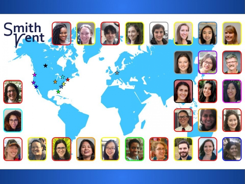 SmithVent, a collection of headshots against a map of the world with stars in various places in North America and Europe